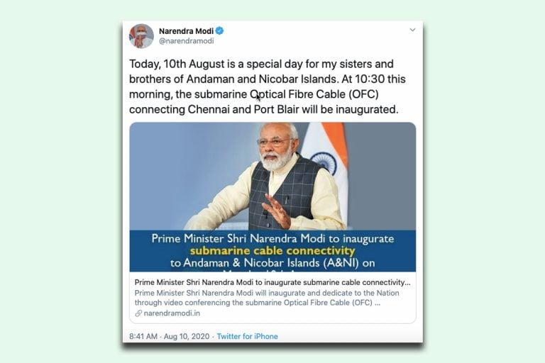 PM Modi inaugurates submarine optical fibre cable connecting Chennai, Port Blair