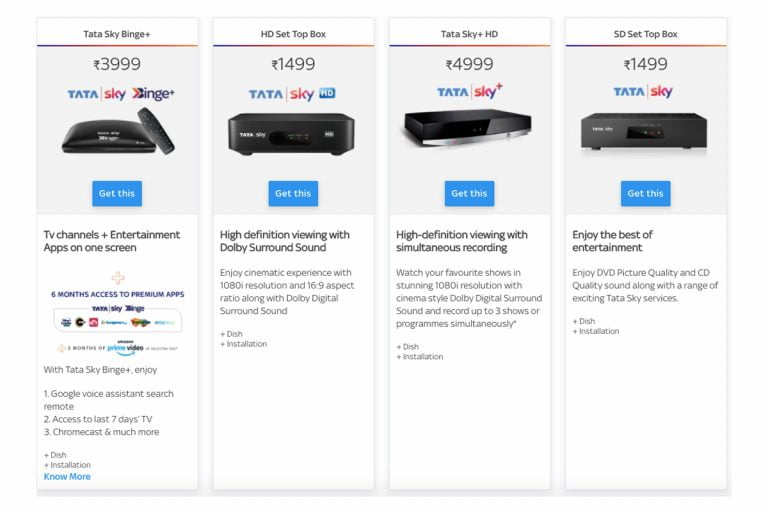 Tata Sky Set-Top Boxes Now Available in 4 Variants for New Users