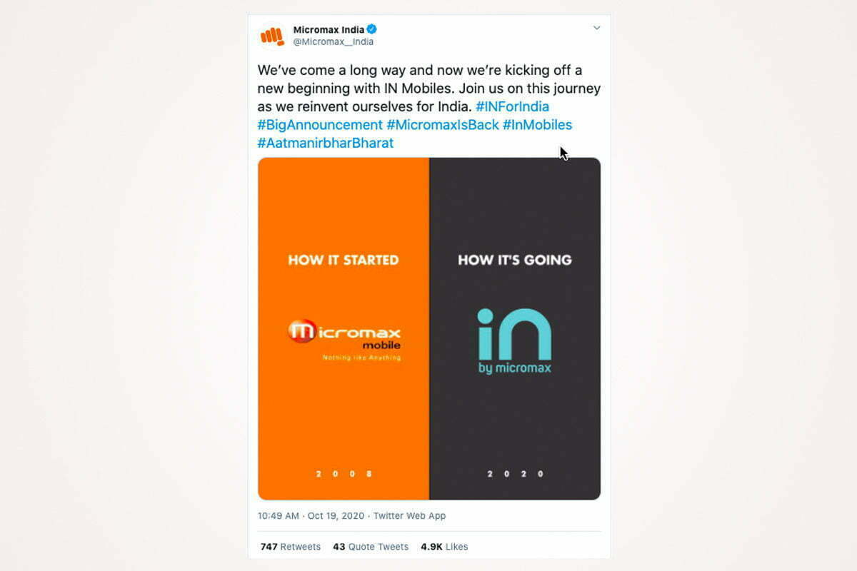 """Micromax Announces Comeback in The Indian Smartphone Market With """"In"""""""