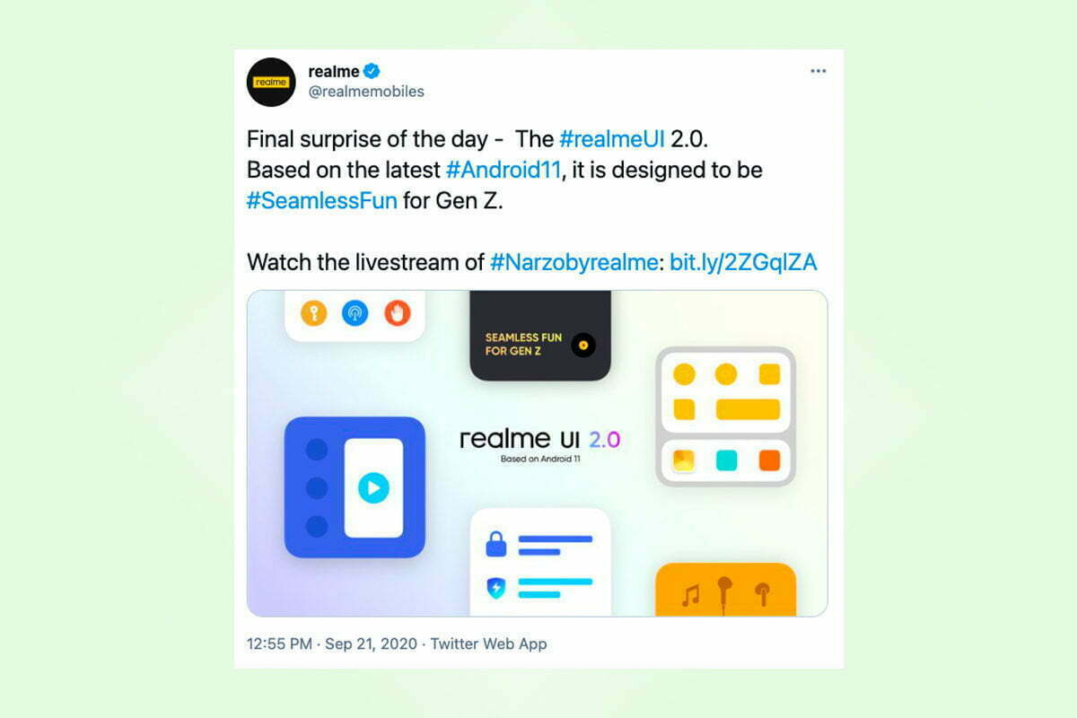 Realme Rolls Out UI 2.0 Based on Android 11 for Narzo 20