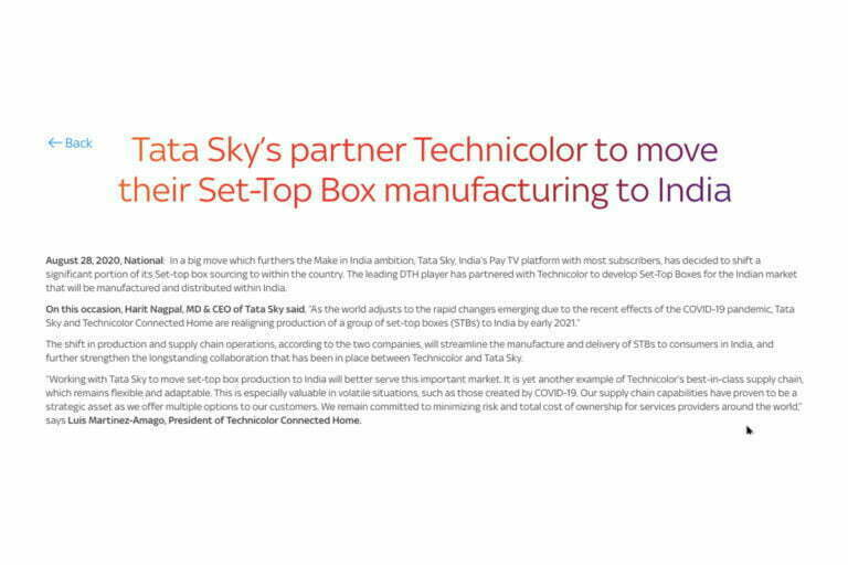 Tata Sky Shifts Set-Top Box Production to India With its Partner Technicolor